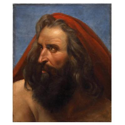 Head Of Prophet, Oil On Paper, Maroufle 'on Canvas, Pietro Benvenuti (?), Italy XIXth Century