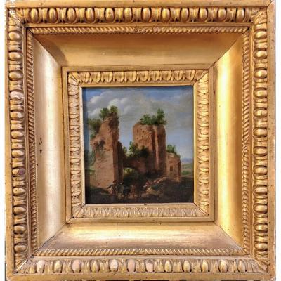 Paysage Avec Trophées  De Mario, Tableau, Suiveur De H.f. Van Lint Rome XVIIéme Siécle.