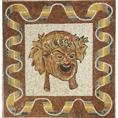 Mosaique Avec Tete De Bacchus, Italie XXéme Siécle
