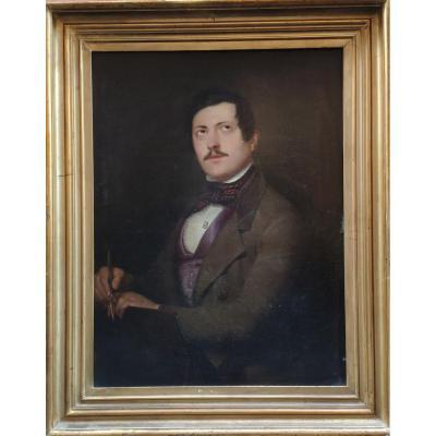 Portrait Of An Artist (a Painter?), Oil On Canvas, Italy XIXth Century