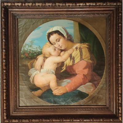 Virgin And Child, Oil On Canvas, School Of