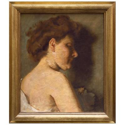 Portrait De Femme Par Derrière, Tableau Italie XIXéme Siècle