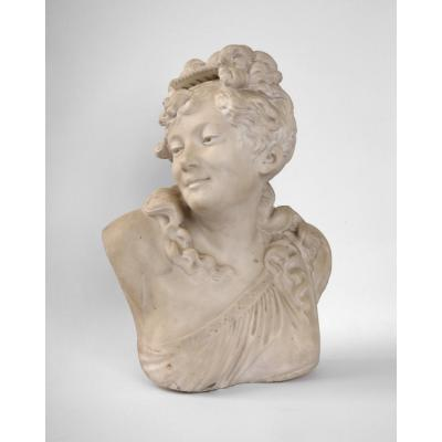Bust Of Diane In White Marble, By J. Frugoni France XIXth Century