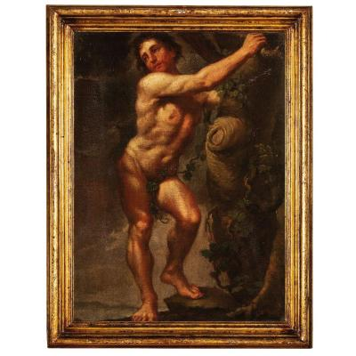 Naked Man In Front, Painting, Italy XVIIth Century