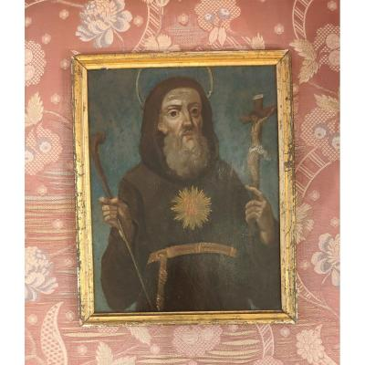 San Francesco Da Paola, painting oil on copper, Neapolitan school Italy XVIIth Century Small devotional painting, work from southern Italy The Saint is patron saint of sailors and protector against fires, sterility and epidemics; co-patron of the city of Naples