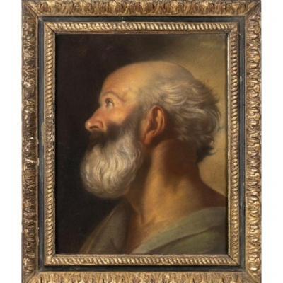 Tete De Vieil Homme Barbu , Tableau,  Entourage De  B. Luti , Italie XVIIéme Siécle