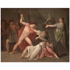 La Mort De Priam, Tableau . Italie Debut XIXéme Siécle