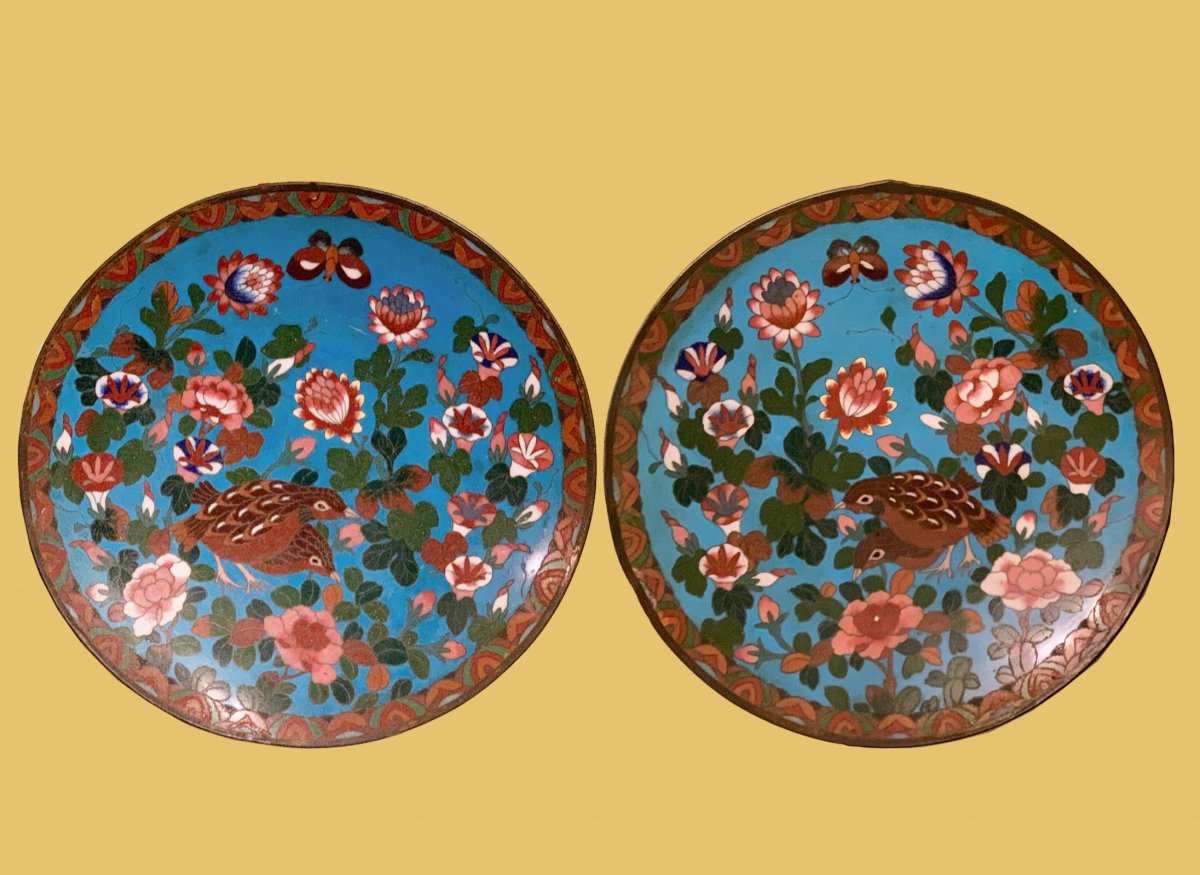 Pair Of Plates, In Cloisonné, Made In The First Half Of The Nineteenth Century