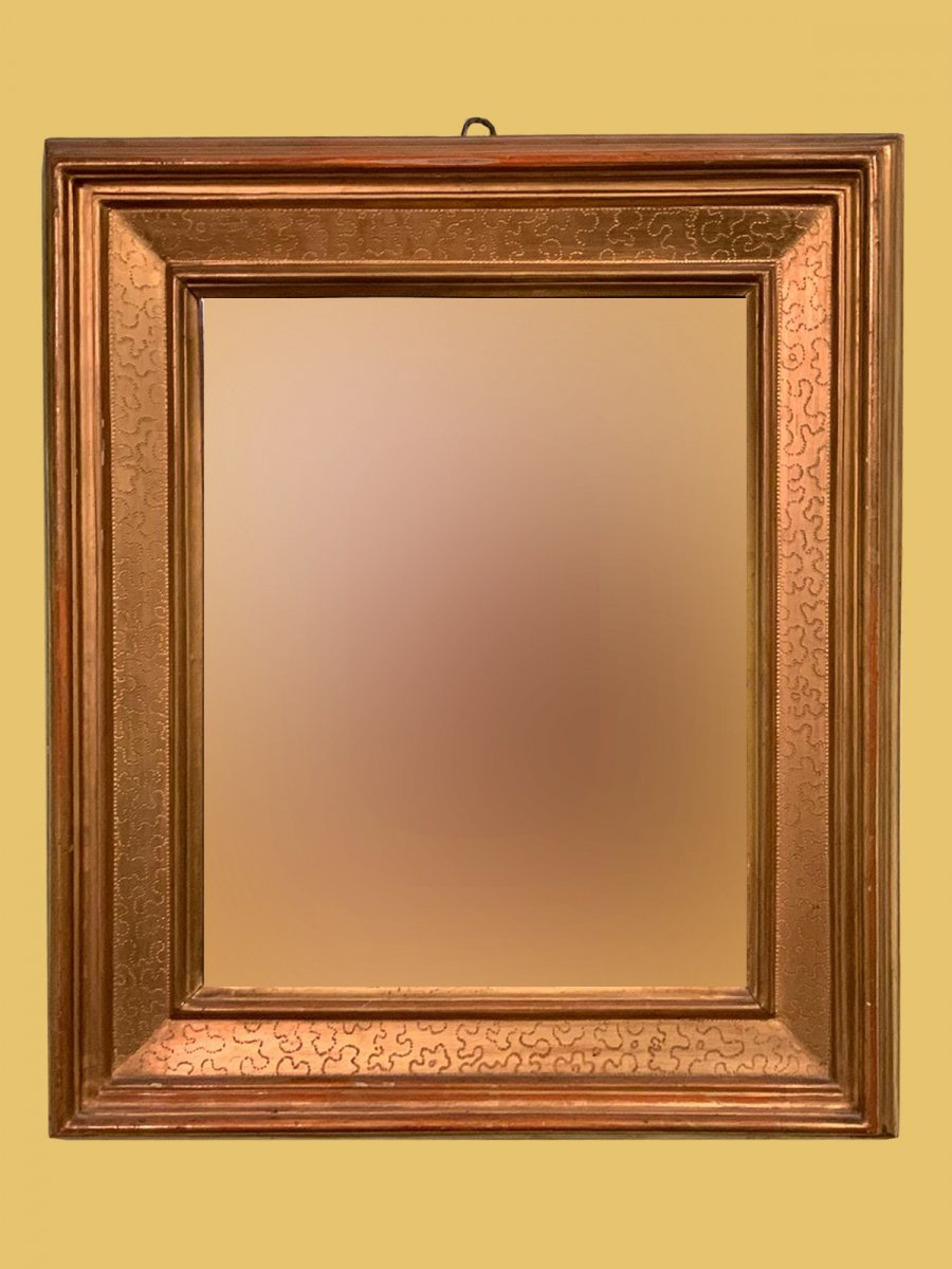 """Lombard Mirror, Called """"cassette"""", Made At The End Of The '700 In Pure Gold And Mercury Mirror"""