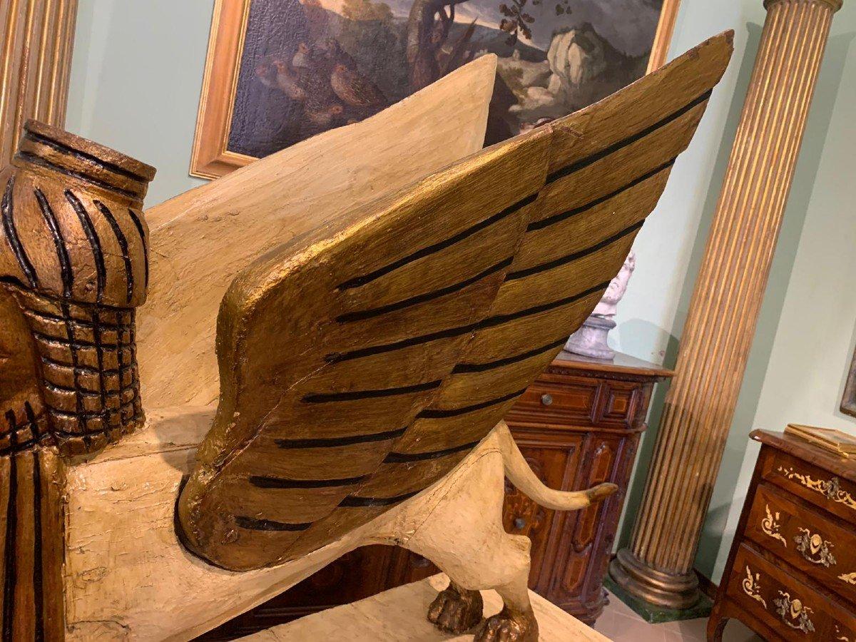 Sphinx Ailé, En Bois Laqué Et Doré, Utilisé à Des Fins Théâtrales-photo-3