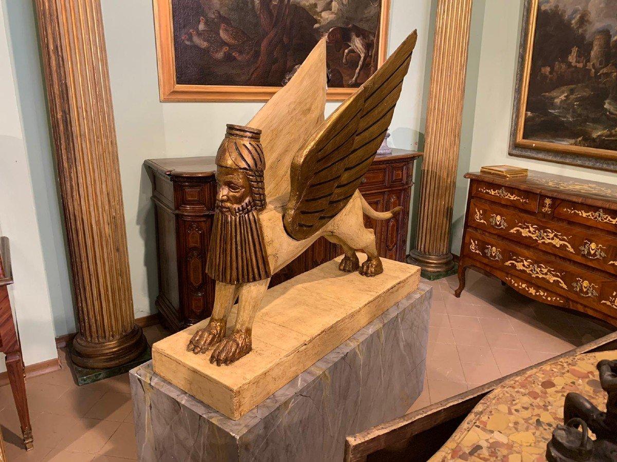 Sphinx Ailé, En Bois Laqué Et Doré, Utilisé à Des Fins Théâtrales-photo-4