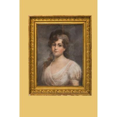 Pastel, Signé Linder, Représentant Une Femme De Chambre Au Cadre Contemporain, Du XIXe Siècle