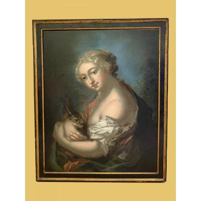 Painting, Oil On Canvas, Representative Young Woman With A Rabbit, Of Venetian Origin - 1700