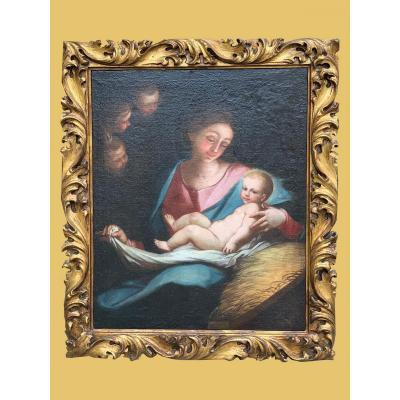 Painting, Oil On Canvas, Representing The Virgin And Child - End Of The 17th Century