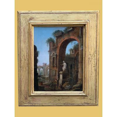 Painting Representing Architecture With Roman School Characters - 1700