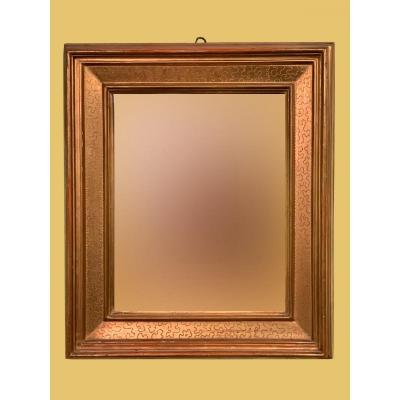 "Lombard Mirror, Called ""cassette"", Made At The End Of The '700 In Pure Gold And Mercury Mirror"