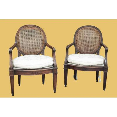 Pair Of Genoese Armchairs, In Walnut, Louis XVI Period (late 18th Century)
