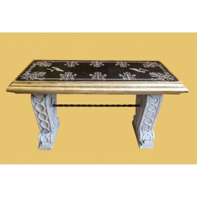 Coffee Table Formed From An 18th Century Scajola Top, With Marble Base