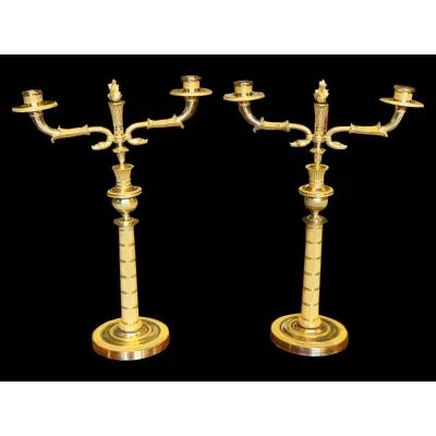 Pair Of Gilt Bronze Candelabra, Of French Origin, Made In 1820