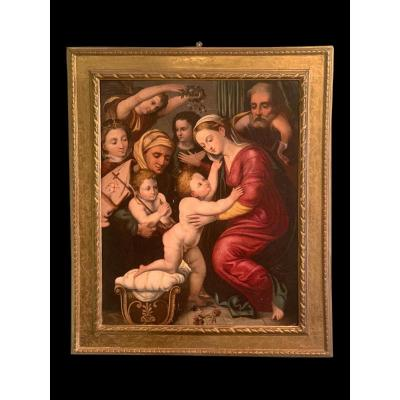 Peinture Représentant La Sainte Famille Avec Saints Et Anges - Bartolomeo Ramenghi