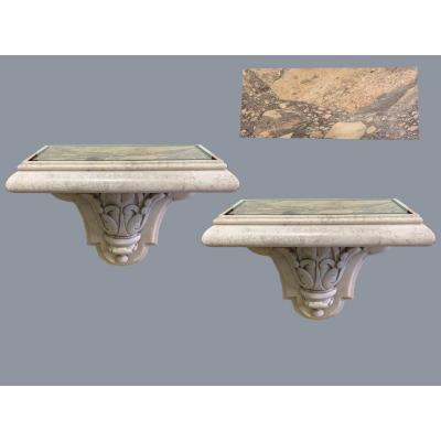 Pair Of Wall Consoles, In Carrara Marble, With Serravezza Breach Top