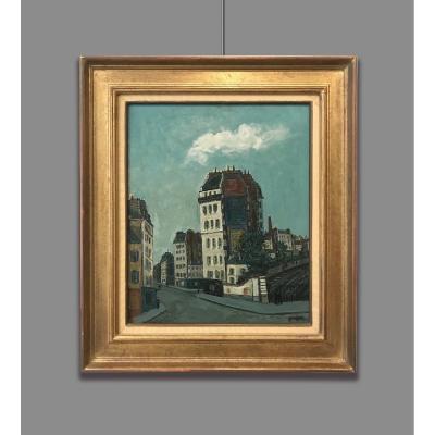 Alphonse Leon Quizet (1885-1955) Carrefour à Paris, 1952