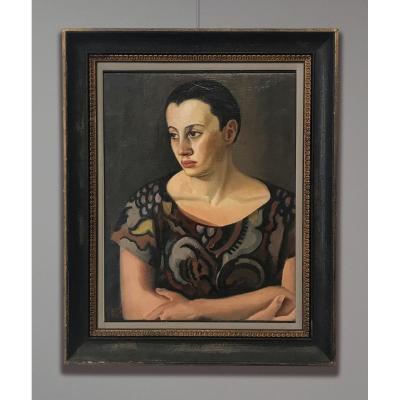 Artiste Du 20ème Siècle Signé A. Simet (?) Portrait de femme, 1920