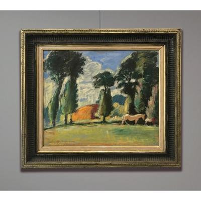 Albert Copieux (1885-1956) Landscape With Horses