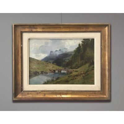 Johann Joseph Geisser (1824-1894) Paysage Suisse