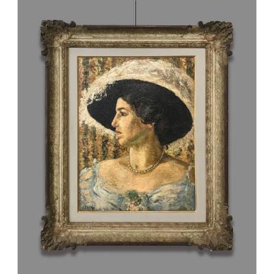 Artiste du 20ème Siècle Signé L. Mori, Portrait de femme