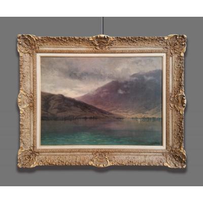 Daniel Duchemin (1866-1937) Vue Sur Le Lac Au Crépuscule