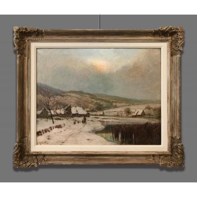 Artiste Du 20ème Siècle Signé J. Millient, Paysage Enneigé