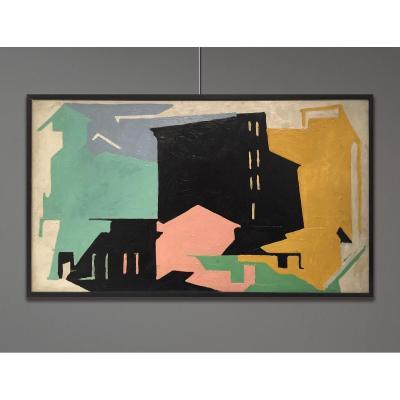 Arturo Peyrot (1908-1993) Composition, Paysage Urbain