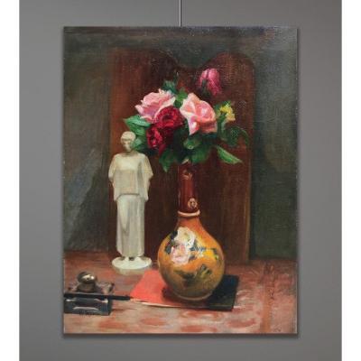 Charles Eugène Descoust (1882-1974) Composition Avec Vase De Fleurs Et Statuette