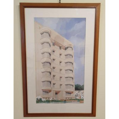 Large Watercolor Architecture - 1950/1960