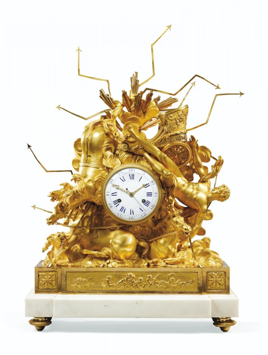 Important Consulat Ormoulu Mantel Clock, Depicting The Fall Of Phaeton