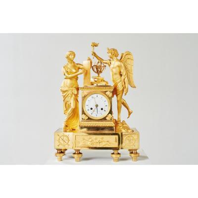 Grande Pendule en Bronze Doré, d'époque Empire