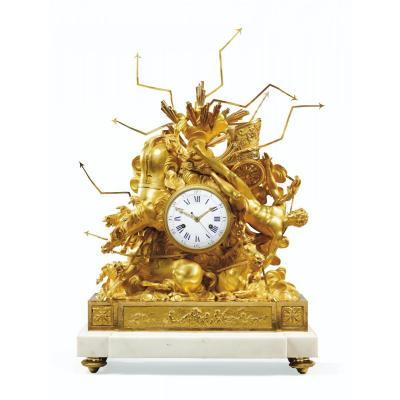 Importante Pendule en Bronze Doré Représentant La Chute De Phaéton
