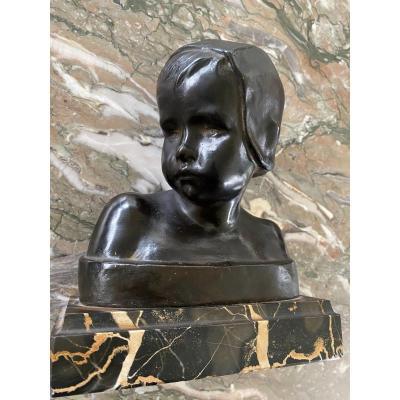 Bust Of Little Girl In Bronze Signed Cranney Franceschi