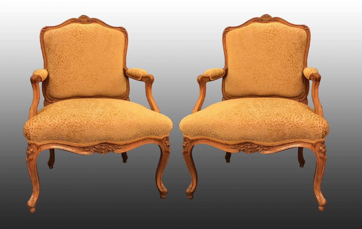 Paire De Fauteuils Louis XV Estampille De Gourdin