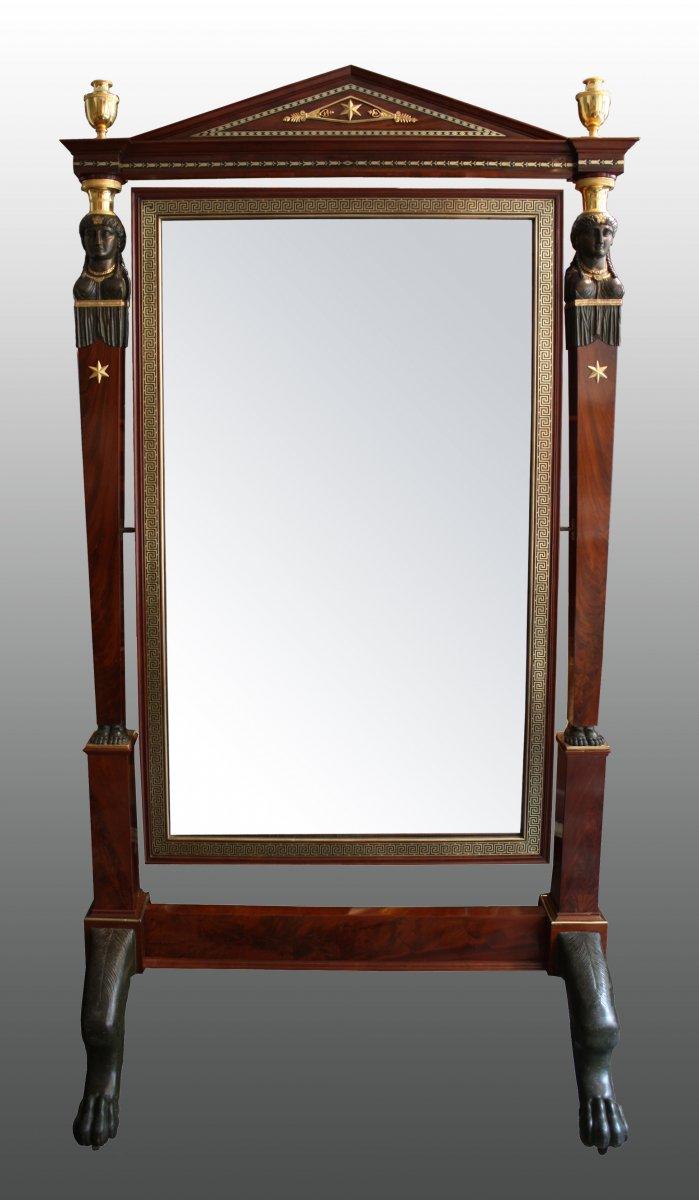 """Grand Miroir à Écran dit """"Psyché"""" attribué à Jacob-Desmalter"""