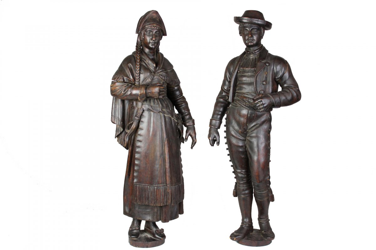 Pair Of Wooden Sculptures  Of 19th Century
