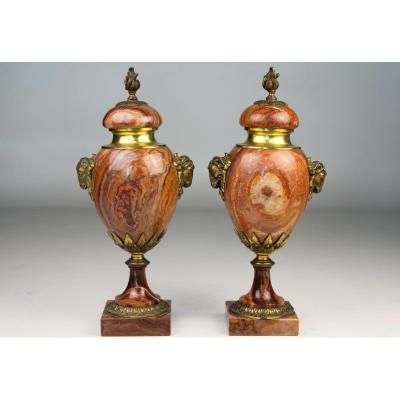 Pair Of Marble And Bronze Cassolettes. Neo Classic. 19th Century