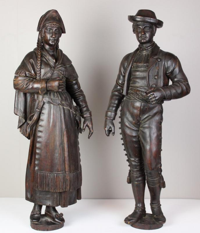 Pair Of Wooden Sculptures  Of 19th Century-photo-2