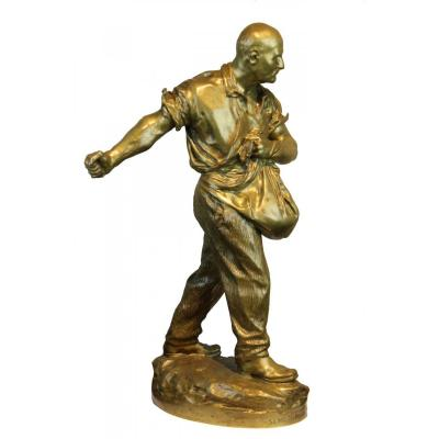 Sculpture En Bronze G. E. Saulo  1909