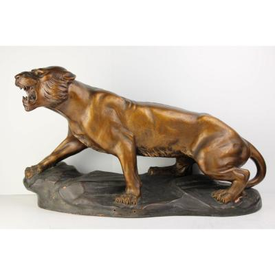 Tiger Sculpture In Terracotta Signed By R. Capaldo XXth
