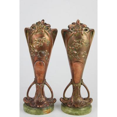 Pair Of Vases In Pewter Patinated And Gilded Art Nouveau Period Signed