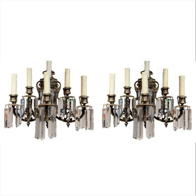 Pair Of XIXth Century Bronze Walllights With Cut Crystals