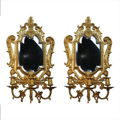 Pair Of Mirrors In Gilded Bronze With 3-light Candlesticks From Napoleon III Period