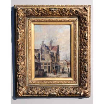 19th Century Painting  Oil On Wood In The Original Gilded Frame
